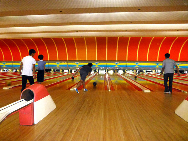 Bowling at Pyongyang Gold Lanes, North Korea