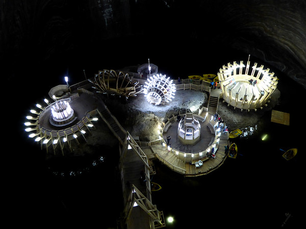 Lake inside Turda Salt Mine