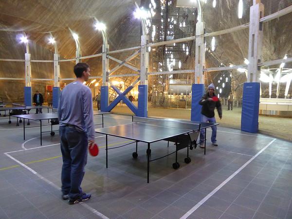 Turda Salt Mine ping pong tournament