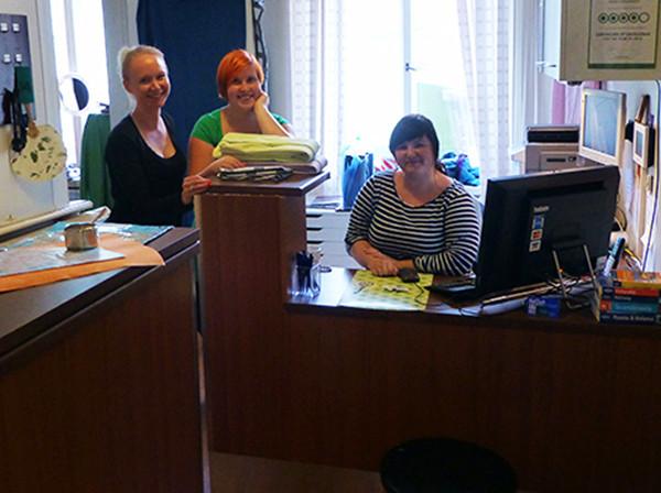 Staff at hostel in Helsinki