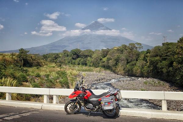 bike and volcano